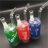 Liquid bong sprite bottles - Glass sci bong Dab cups sprite pipe Inch Red Cocacola Hatorade Bottle Glass Water Pipe for Smoking mm Oil Rigs Hookahs