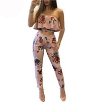 Wholesale Sexy Leggings Two Piece - 2017 Off Shoulder Sexy Floral Print two piece set Women Backless Club crop top+leggings Set StraplessSummer top casual Clothing Sets