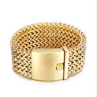 Wholesale Mens Wide Stainless Steel Bracelets - 30MM Wide 23CM Length Mens Bracelet Never Fade 18K Gold Bracelets Gold Color Stainless Steel Bracelets Bangles Biker Jewelry Wristband