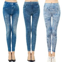 Wholesale Sexy Trousers For Ladies - Casual Thin Faux Denim Elastic Jeans Trousers 2 Colors 7 Style Sexy Stretchy Slim Skinny Jeggings Legging For Women Girl Lady
