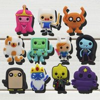 "Wholesale Adventure Time Pvc - Hot sale mixed 100pcs ""Adventure Time"" shoe charms Shoe Buckles Accessories Fit Bands Bracelets Croc JIBZ,Kids Party Gifts Toys"