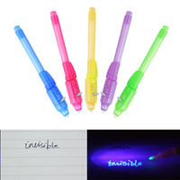 Wholesale Secret Message - Magic 2 In 1 Uv Light Combo Gadget Stationery Invisible Ink Pens Spy Pen Magic Marker Secret Message Gadget 170822