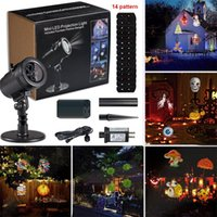 Wholesale Christmas Projector Led Lights - New LED Projector Light 14 Pattern Waterproof Landscape Lighting Indoor Wall Spotlight Laser Projection Lamp Halloween Christmas Fairy Light