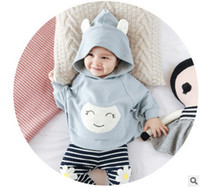 Wholesale Smock Dress Girl - Infant shawl Newborn hooded cloak cape baby girls boys rabbit ear smiling face embroidery coats babies autumn outfits dress smock T0202