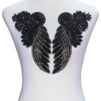 demir motifleri toptan satış-1 Ayna Çifti Siyah Boncuk Kristal Rhinestones Çiçek Düzeltme Aplike Yamalar Demir n Sticker Motif Nakış Zanaat Dikiş T2337