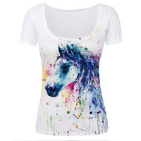 Wholesale Beautiful Woman Paintings - Wholesale- New Fashion Horse Painting T Shirts Women Beautiful Low Collar Sexy Short-sleeve Slim T-shirts Girl Student Tshirts