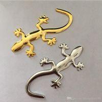 Wholesale Cool Emblems - 1pcs Pure Metal Decorative Styling Cool Metal Gecko Car Stickers 40g 10cm*4.5cm 3D Emblem Lizard Gecko Car Decals Pasters