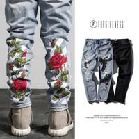Wholesale Wear Jeans - brand off white jeans pants 2017 new men 's wear mill wear striped Rose embroidery Ripped Denim pants men jeans Skinny Biker jogger pants