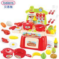 çocuklar mutfak yiyecek seti toptan satış-Beiens Klasik Pişirme Oyuncaklar Çocuklar Için 22 ADET Kesme Gıda Set Çocuk Mutfak Eğitici Oyuncak Oyun Evi Oyuncaklar Oyna Pretend
