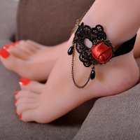 Wholesale Lace Foot Jewelry - 12 pieces Lot European Style Lace Anklet Palace Retro Fashion Personalized Anklet Red Flower Black Charm Foot Jewelry Ankle Bracelets 7123