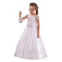 Wholesale Dress Whit Lace - 2017 New Popular Satin Long Whit First Communion Baptism Dresses for Girls Hand Made Appliques Sequins Flower Girl Dresses High Quality
