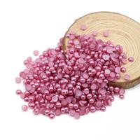 flatback perlen gemischte größen großhandel-Amethyst Farbe Half Runde Perlen, Flatback Perlen, Mix Größen 4mm-10mm ABS Nachgemachte Perlen für DIY Dekoration