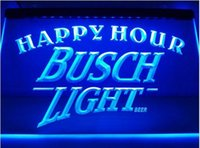 Wholesale Lighted Bar Signs Busch - Busch Light 2 size Happy Hour Bar Beer pub club 3d signs LED Neon Sign