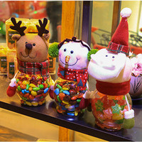 Wholesale- Christmas Snowman Plastic Candy Container Decorative Candy Jars Holiday Decor