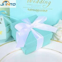 Wholesale Blue Butterfly Favors - Wholesale-20pcs set Romantic Wedding favors Decor Butterfly DIY Candy Cookie Gift Boxes Wedding Party Candy Box with Ribbon Tiffany Blue
