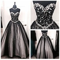 2017 Luxo Sparkly Crystal Beaded Vestidos de casamento Vintage Black and Silver Tulle Bridal Gowns Custom Made China EN101313