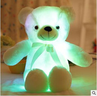 4 colori 50cm Colorful incandescente orsacchiotto peluche luminosi Kawaii Light Up LED Teddy Bear peluche bambola bambini giocattoli natalizi CCA8353 10 pezzi