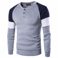 Wholesale Top Brands Mens Sweater - 2017 Brand British Style Mens Fashion Casual Sweater Stitching Button Decorated Crew Neck Plus Size Mens Sweaters Tops
