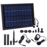 Wholesale Solar Power 12v Water Pumps - 10V 5W Solar Power Decorative Fountain Water Pump with 6LED Spotlight Submersible LED Pump Fountain for Garden Pond