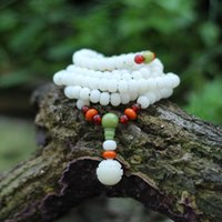 Wholesale Natural White Agate Necklace - Original handcrafted sweater chain necklace with beeswax red agate Hot ethnic style Coat Chain Natural white bodhi root long beaded necklace