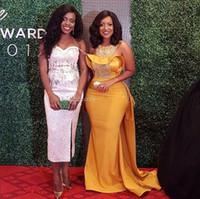 Wholesale Real Sample Celebrity Dress - Elegant Real Sample Mermaid Evening Dresses Scoop Neck Beaded Satin Dusty Plus Size Celebrity Dresses African Women Formal Evening Gowns