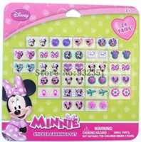 Wholesale Minnie Stickers - 10 sheets 24 pairs of stick on Earrings Minnie stickers party gifts