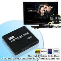 Wholesale Mpeg Sd - Wholesale-New mini HDMI Media Player 1080P Full HD TV Video multimedia player box support MKV RM-SD USB SDHC MMC HDD-HDMI