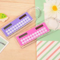 Wholesale Portable Calculators - Mini Portable Solar Energy Calculator Creative Multifunction Ruler Students Gift