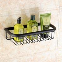 Wholesale Metal Racks Baskets - 30CM Square Black Bronze Storage Basket Rack Wall Mounted Single Tier Bathroom Shelf Shelves Shampoo Shelf
