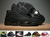 Wholesale Online Media - 2017 Air Retro 13 XIII Men Basketball Shoes Black Cat CHICAGO Red Bred He Got Game Black Sneaker Sport shoes Online Sale kids
