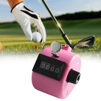 Wholesale Tally Counter Pink - Wholesale-Hand Tally Counter metal counter 4 digit Manual counters Pressing the manual counter People Counting Cliker Pink PJW