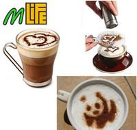 Wholesale Cartoon Stencil - 16Pcs Set Mold Coffee Milk Cake Cupcake Stencil Template Coffee Barista Cappuccino Template Gusto Strew Pad Duster Spray Tools