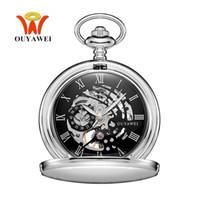 Wholesale Men Gold Pocket Watch - NEW Hot Brand OUYAWEI Brand Mechanical Hand Wind Pocket Watch Silver Black Stainless Steel Case Hombre Watch Men
