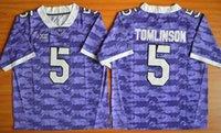 Wholesale Purple Frogs - TCU Horned Frogs #5 LaDainian Tomlinson #2 Trevone Boykin College Football Jersey - White Black Purple