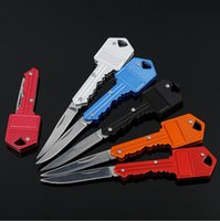Wholesale Mini Blades - Stainless Protable Key Fold Knife Mini Pocket KeyChain Knife Peeler Camping Survival Knife Tool 6 Colors Aluminum Handle B804
