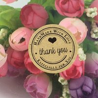 "Wholesale Handmade Labels - Wholesale-3cm Kraft Round ""thank you"" Label & Packaging stickers self-adhesive stickers Scrapbook Sealing Handmade Paper Sticker Labels"