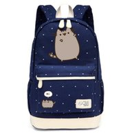 Wholesale Wave Style Black Leather - Pusheen Cat Canvas bag unicorn Flower wave point Rucksacks backpack for teenagers Girls women School Bags travel Shoulder Bag