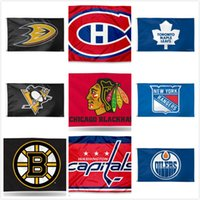 ekip bayrakları toptan satış-Pittsburgh Penguins Takımı Toronto Maple Leafs Boston Bruins Edmonton Oilers Hokey Takımı Bayrakları Futbol Beyzbol Şampiyonu Bayrakları 150 * 90 CM Bayrak
