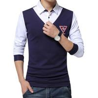 Wholesale Two Color Collar Shirt - Wholesale- Men Shirt Long Sleeve false two Brand Social Shirts Men Casual Male Slim Fit Fashion Spell Color Mens Camisas Dress Shirts