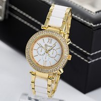 Wholesale Heart Ceramic Watch - Hot geneva Geneva ladies quartz watch three steel strip female imitation ceramic diamond diamond fashion waterproof decorative atmosphere wa