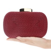 Wholesale Evening Clutch Bags Navy - Fashion Women Messenger Bags Knitted Style Vintage Metal Day Clutches Small Purse Evening Bags For Wedding