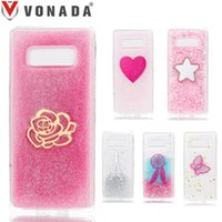 Wholesale Glue For Bling Phone Case - Bling Bling Glitter TPU Silicone Iron Tower Pattern Glue Phone Case Cover for Samsung Galaxy Note 8