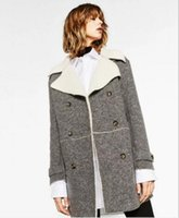 Wholesale Leather Trench Overcoat - 2017 winter women overcoat plus size elegant women winter trench coat suede leather Lambs wool women coat blue