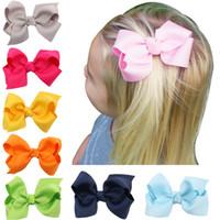 Wholesale Bow Hair Ornaments - 20pcs 3 INCH Korean Grosgrain Ribbon Hairbows Baby Girl Accessories With Clip Boutique Hair Bows Hairpins Hair Ornaments HD3201