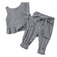 Wholesale Pink Lotus Clothing Wholesale - Girls Stripe Sets Kids Clothing 2017 Summer Lotus Leaf Edge Sleeveless Top + Bow Pant 2 Pieces DR-078