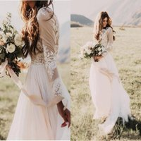 Wholesale chiffon bateau wedding dress resale online - Bohemian Country Wedding Dresses With Sheer Long Sleeves Bateau Neck A Line Lace Applique Chiffon Boho Bridal Gowns Cheap BA6589