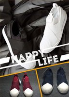 Wholesale Head Champagne - Superstar Slip On Shell Toe Casual Shoes Head Cross Strap Black White Red Blue Men Women Spring Summer Fashion Leisure Shoes