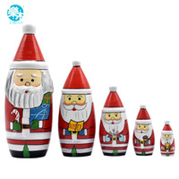 Wholesale Russian Months - 5PCS Set Wooden Matryoshka Doll Christams Santa Wooden Russian Nesting Dolls Gift Matreshka Handmade Crafts for Christmas