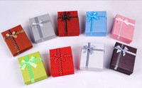 Discount jewellery box gifts - 7 * 9 * 2.5cm Dots Cross Bow display packaging gift boxes jewellery box, pendant box, earrings box ring box Multi-color random color