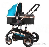Wholesale High Baby Strollers - 2018 new baby stroller high-landscape baby prams portable folding baby carriage for Newborn Sit and Lie Aluminum Tube free shipping